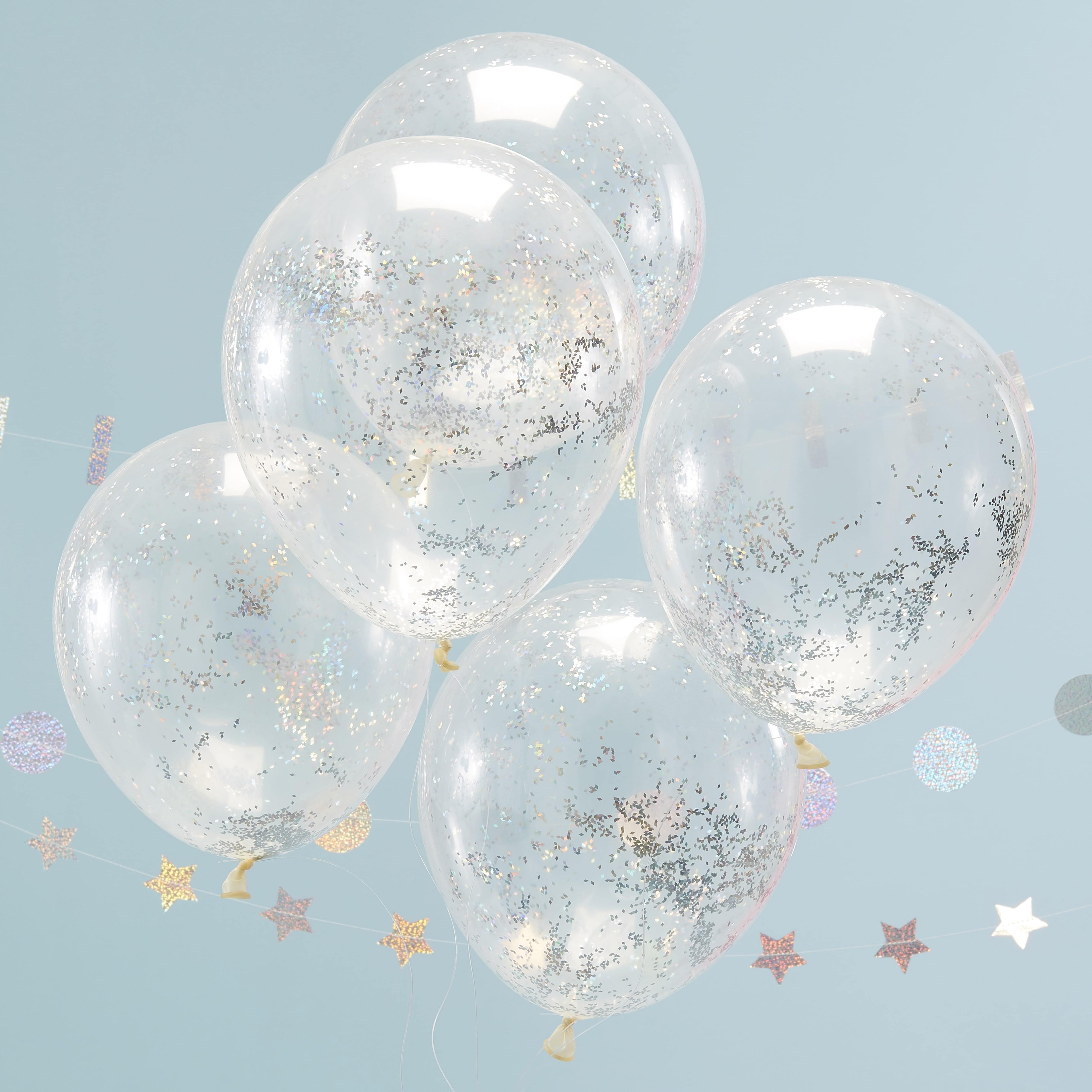 holographic glitter confetti balloons