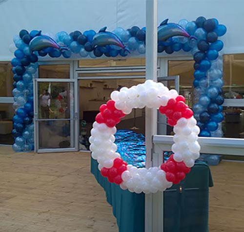 balloon archway construction - nautical